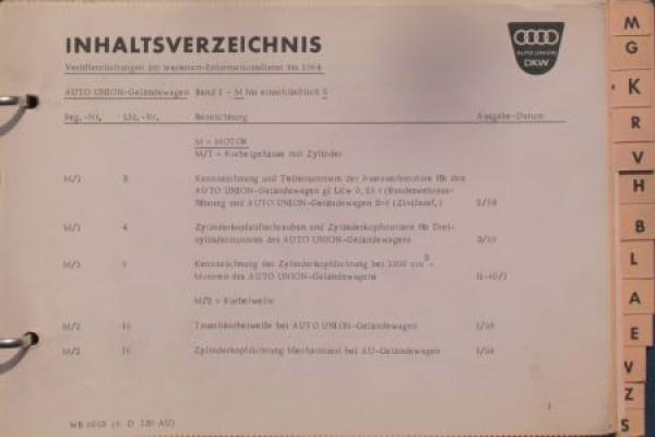 DKW Auto-Union Geländewagen 1959 Reparatur-Handbuch in Originalordner 1