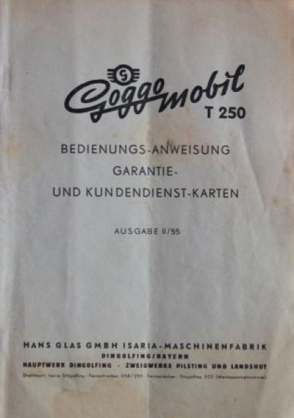 Glas Goggomobil T 250 Bedienungsanleitung 1955 0