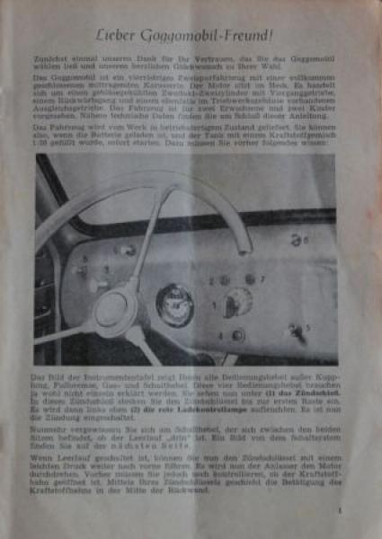 Glas Goggomobil T 250 Bedienungsanleitung 1955 1