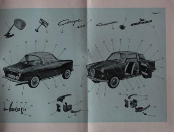 Glas Goggomobile Coupe TS 250 - 300 Ersatzteil-Liste 1957 2