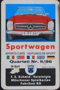 """Schmid Spiele """"Sportwagen"""" Kartenspiel 1965"""
