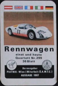 """Piatnik & Söhne """"Rennwagen"""" Kartenspiel 1967"""