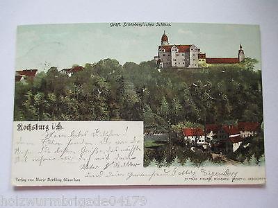 Alte AK Rochsburg Sachsen gräfl. Schönburg´sches Schloss Litho gelaufen 1901