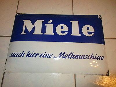 Altes Emaileschild Miele AUCH HIER EINE MELKMASCHINE original Werbung