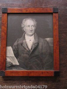 Alter Biedermeier Bilderrahmen mit Glas Motiv Brief an Goethe Druck 17 x 14,5 cm 0