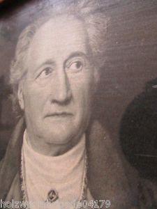 Alter Biedermeier Bilderrahmen mit Glas Motiv Brief an Goethe Druck 17 x 14,5 cm 1