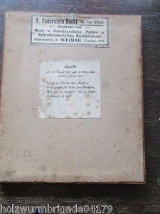 Alter Biedermeier Bilderrahmen mit Glas Motiv Brief an Goethe Druck 17 x 14,5 cm 2