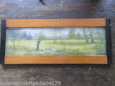 Alter Biedermeier Bilderrahmen mit Glas Druck Jagdszene 39 x 16 cm