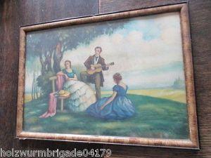 Alter Biedermeier Bilderrahmen mit Glas Druck eines Pärchens 36 x 25,5 cm 1