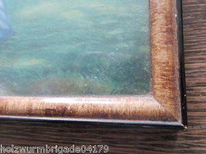 Alter Biedermeier Bilderrahmen mit Glas Druck eines Pärchens 36 x 25,5 cm 4