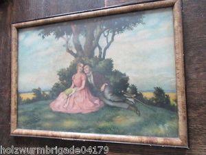 Alter Biedermeier Bilderrahmen mit Glas Druck eines Pärchens 36 x 25,5 cm (2 ) 1