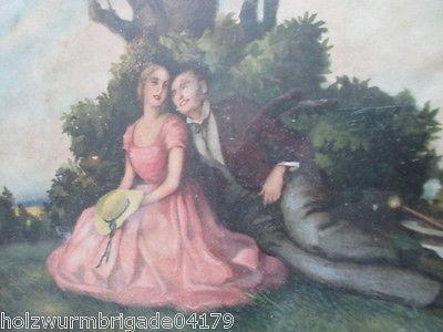 Alter Biedermeier Bilderrahmen mit Glas Druck eines Pärchens 36 x 25,5 cm (2 ) 2