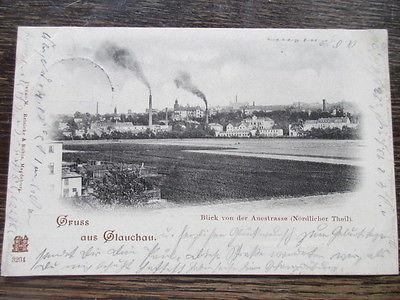 Seltene AK Glauchau Blick von der Auestrasse nördlicher Theil gelaufen 1901