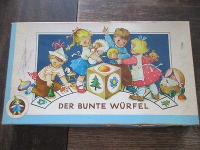 Seltenes altes Würfelspiel Brettspiel DER BUNTE WÜRFEL Komplett