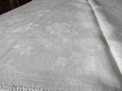 Schöne alte XXL Leinen Damast Tischdecke Tafeltuch Hohlsaum 310 x 190 cm um 1910