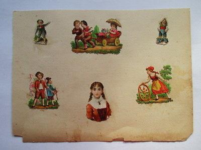 6 schöne alte Präge Oblaten Glanzbild Kinder um 1890