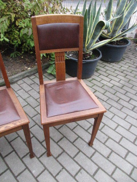 Vier Alte Stühle Jugendstil Um 1900 Holz Eiche 1