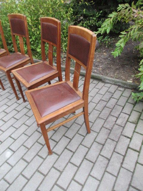 Vier Alte Stühle Jugendstil Um 1900 Holz Eiche 3