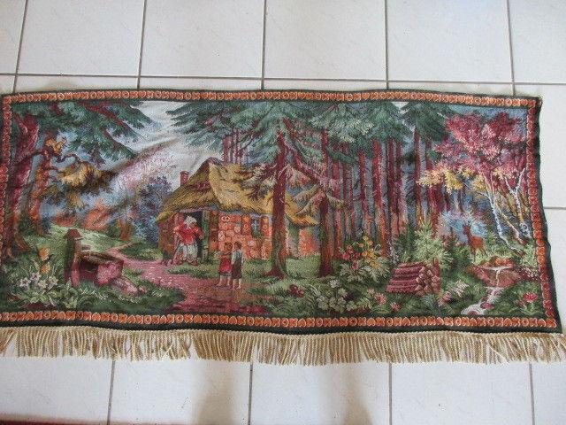 Alter Gobelin Wandbehang Wandteppich Märchen Hänsel und Gretel 150 x 70 cm
