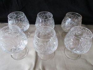 6 alte Kristallgläser Weinbrandschwenker Cognac Schwenker