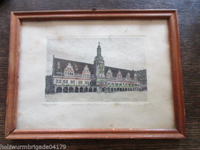 Schöne alte Radierung Leipzig altes Rathaus signiert