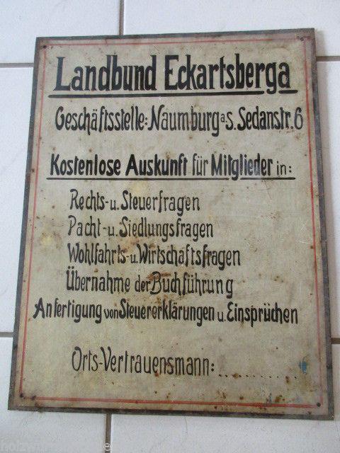 Sehr seltenes altes Blechschild Landbund Eckartsberga Naumburg um 1920