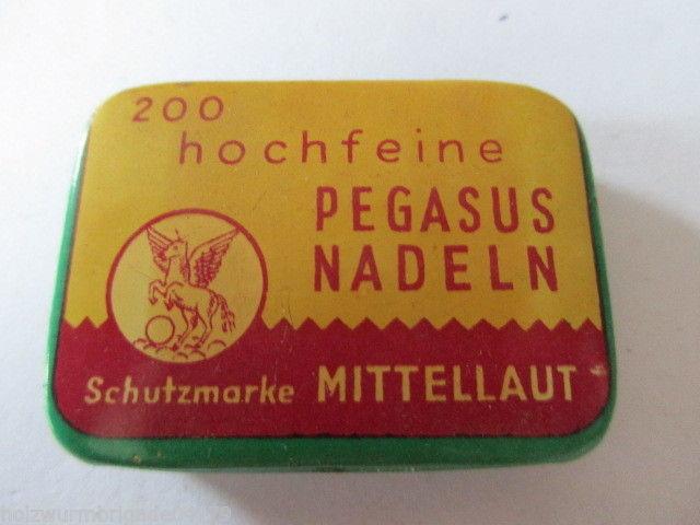 Seltene alte Grammophon Nadeln 200 hochfeine Pegasus Nadeln mittel Original Dose