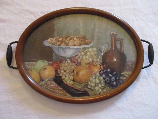 Schönes altes Holz Tablett Jugendstil mit Stilleben W. Harnisch Druck