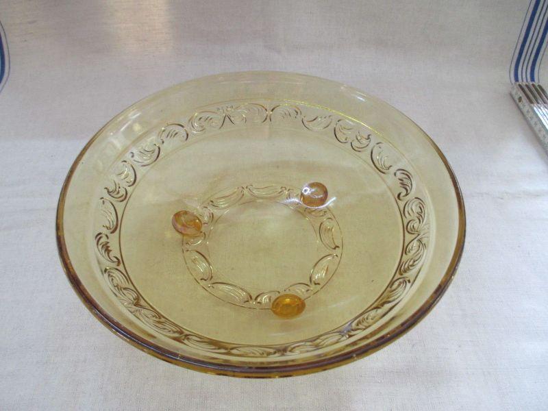 Alte Schale Glas gelb 20er Jahre