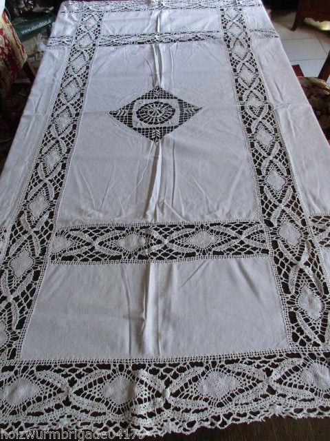 Herrliche alte Leinen Tischdecke Klöppelspitze feinste Handarbeit