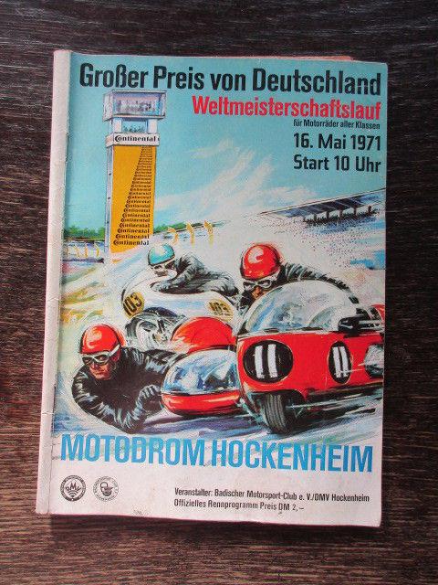 Programmheft Großer Preis von Deutschland Weltmeisterschaftslauf Motorräder 1971