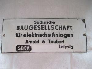 Seltenes altes Emailschild Emaille Schild  Sächsische Baugesellschaft Leipzig