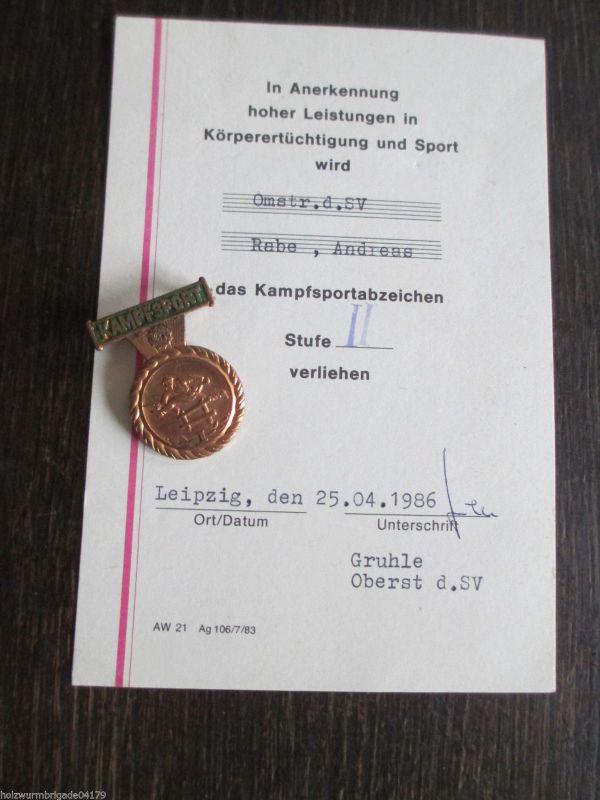 Kampfsportabzeichen Stufe 2 mit Urkunde