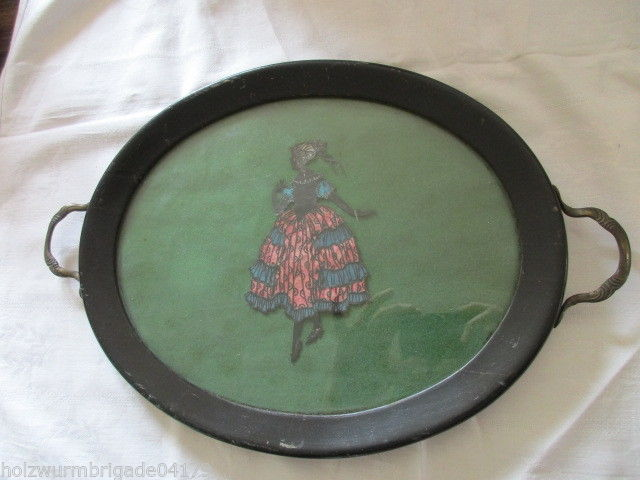 Altes ovales Tablett Holzrahmen Messinggriffe mit Scherenschnitt Jugendstil