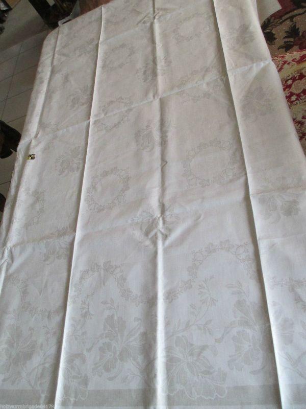 Altes Halbleinen Damast Tischtuch Tafeltuch Tischdecke Jugendstil 160 x130 cm