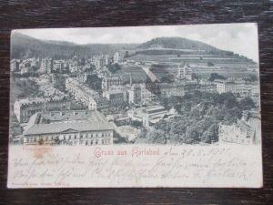 Selten Gruss aus Karlsbad Westend Bahnpost gelaufen 1901