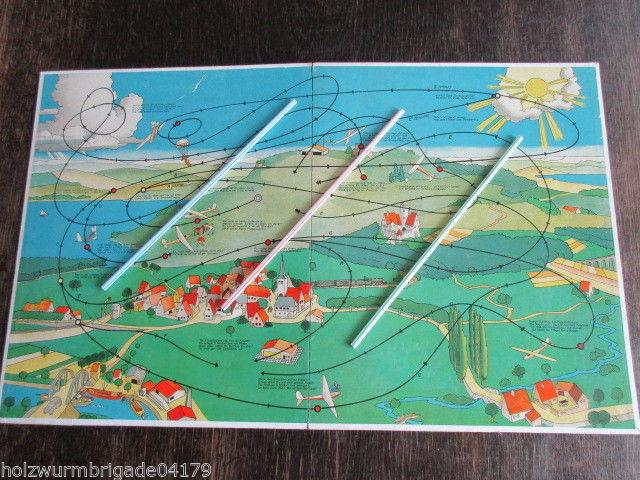 Seltenes altes Spielbrett Würfelspiel Segelflug Flugzeug Flugsport 40er Jahre