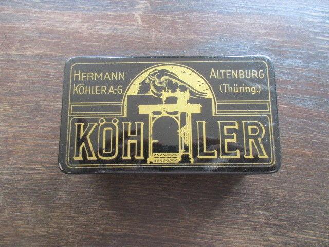 Alte Blechdose Hermann Köhler Altenburg Thüringen Nähmaschinen Werbung