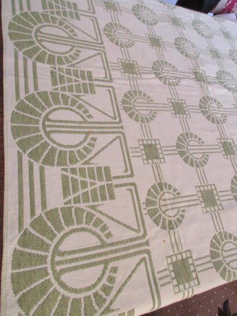 Traumhafte alte Leinen Damast Tischdecke Tafeltuch feinstes Jugendstil Grafik 1