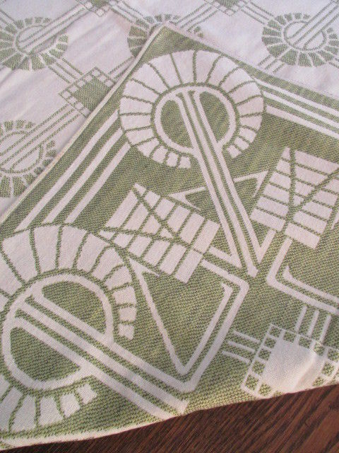 Traumhafte alte Leinen Damast Tischdecke Tafeltuch feinstes Jugendstil Grafik 4