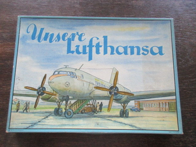 Sehr seltenes Brettspiel Würfelspiel UNSERE LUFTHANSA DDR von 1957 komplett