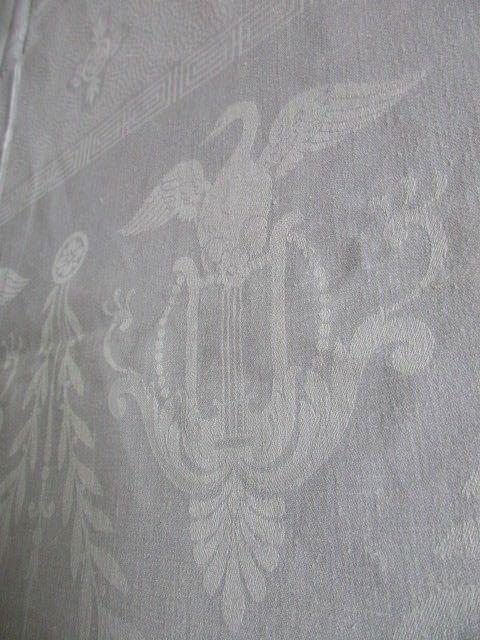 Herrliches altes Leinen Tischtuch Tafeltuch Tischdecke Jugendstil Schwäne Harfen 8