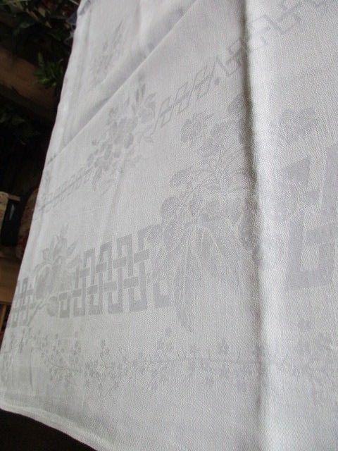 Herrliches altes XXL Leinen Tischtuch Tafeltuch Jugendstil 330 x 160 4