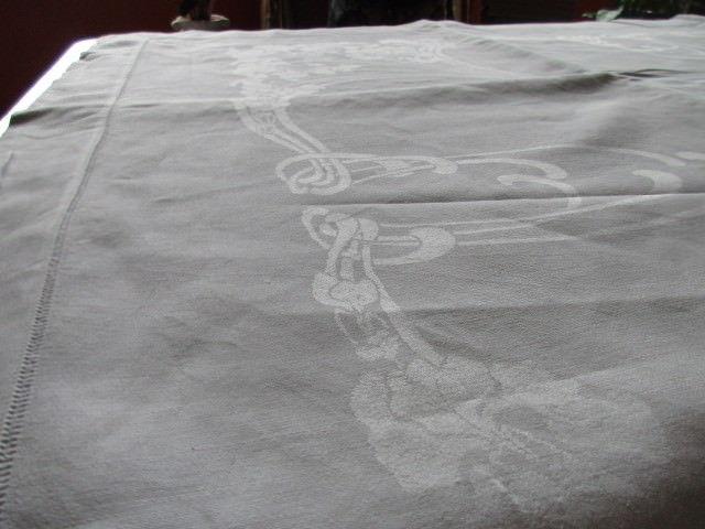Herrliches altes XXXL Leinen Tischtuch Tafeltuch Jugendstil Hohlsaum 400 x 180 11