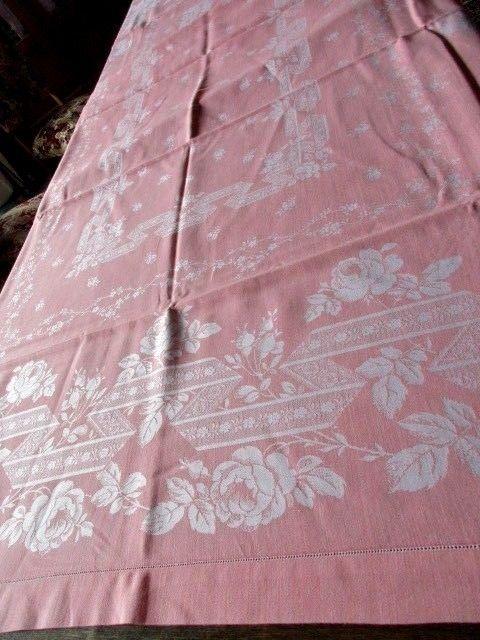 Herrliches altes XXL Leinen Damast Tischtuch Tafeltuch Jugendstil Rosa 280 x 150
