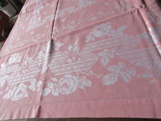 Herrliches altes XXL Leinen Damast Tischtuch Tafeltuch Jugendstil Rosa 280 x 150 1