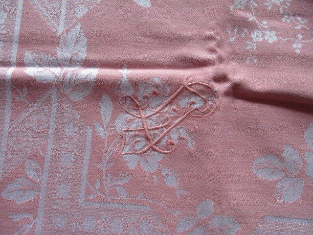 Herrliches altes XXL Leinen Damast Tischtuch Tafeltuch Jugendstil Rosa 280 x 150 4