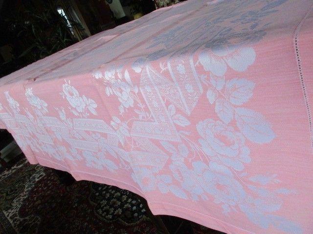 Herrliches altes XXL Leinen Damast Tischtuch Tafeltuch Jugendstil Rosa 280 x 150 5