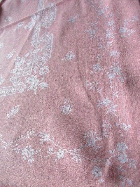 Herrliches altes XXL Leinen Damast Tischtuch Tafeltuch Jugendstil Rosa 280 x 150 7