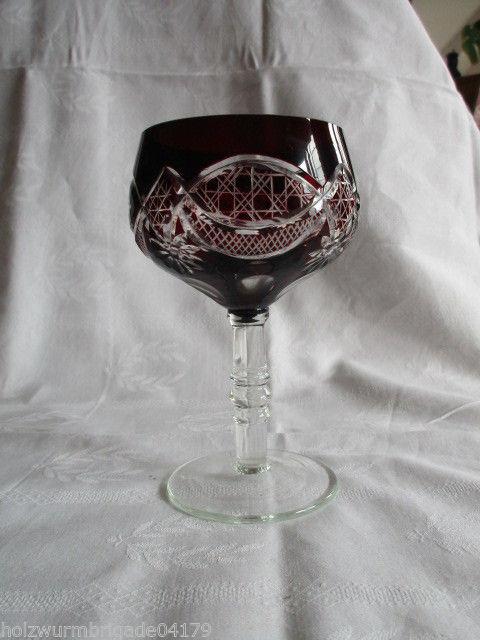 Schönes altes Kristall Römer Weinglas Rubin Überfang 13,5 cm